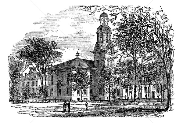 City Hall in Lawrence, Canada, vintage engraving Stock photo © Morphart