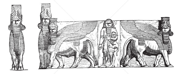 рельеф вход дворец руин Ирак Vintage Сток-фото © Morphart