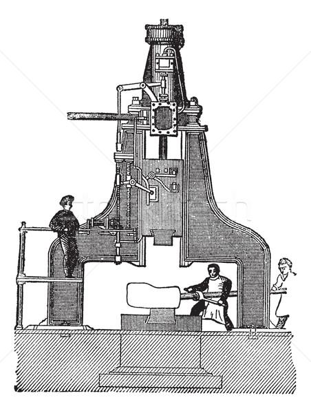 Stoom hamer vintage gegraveerd encyclopedie Stockfoto © Morphart