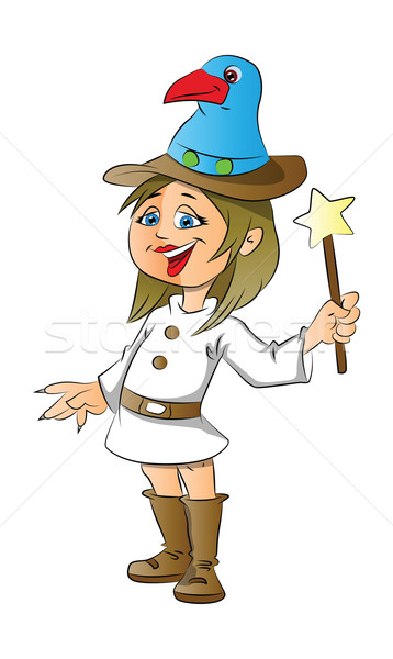 Vector gelukkig meisje magie stick witte Stockfoto © Morphart