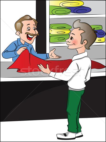 Vetor lojista ajuda cliente escolher roupa Foto stock © Morphart