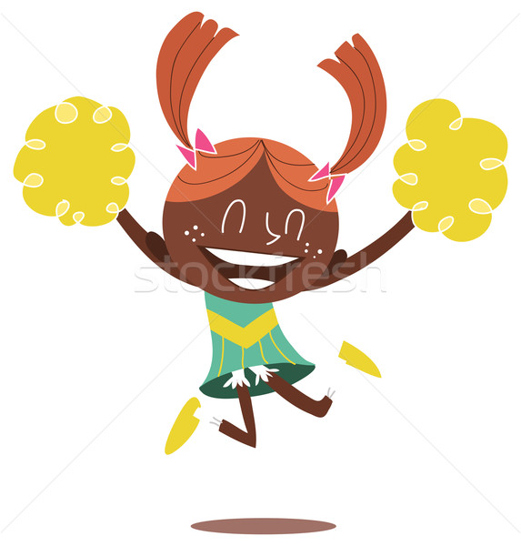 Illustration of a young smiling cheerleader jumping and cheering Stock photo © Morphart