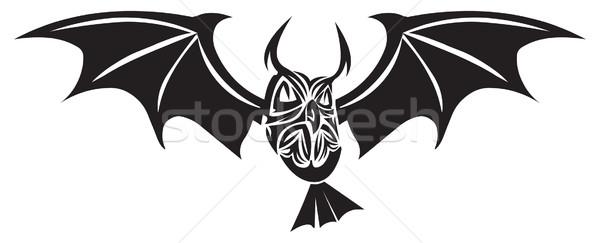 Chouette tatouage design vintage gravure ailes Photo stock © Morphart