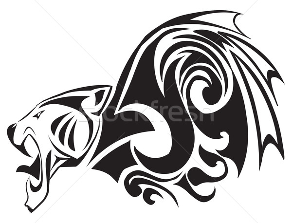 Tattoo of panther head, vintage engraving. Stock photo © Morphart