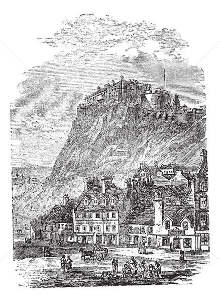 Edinburgh kastély Skócia klasszikus vésés öreg Stock fotó © Morphart