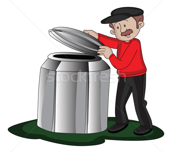 Vector of man opening barrel's lid. Stock photo © Morphart