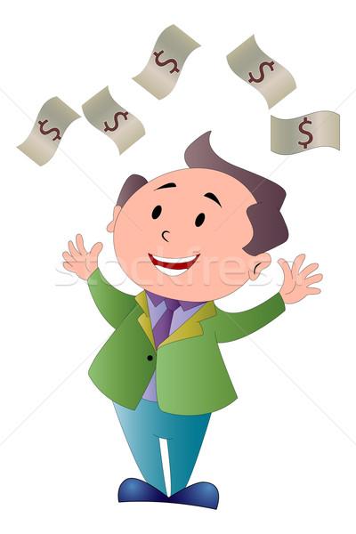 Man Showering in Dollar Bills, illustration Stock photo © Morphart