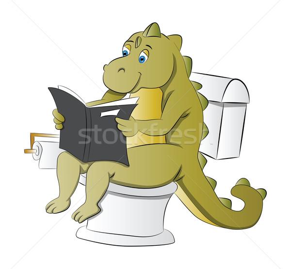 Dinosaurus toilet illustratie lezing krant natuur Stockfoto © Morphart