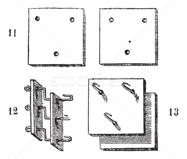Fig. 11, 12, 13. Spinning machine horsehair, vintage engraving. Stock photo © Morphart
