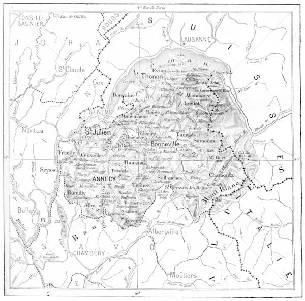 Map of Department of Haute-Savoie vintage engraving Stock photo © Morphart