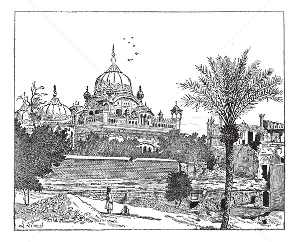 Mausoleum of Ranjit Singh, Lahore, Pakistan, vintage engraving. Stock photo © Morphart