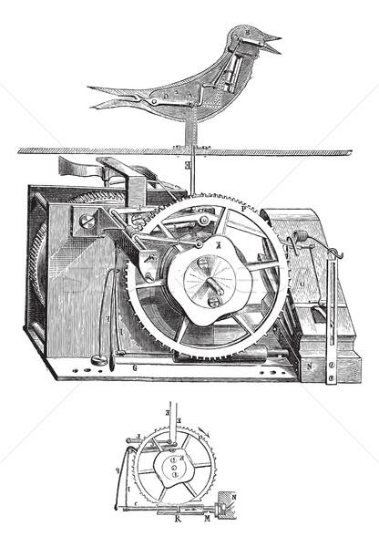 Koekoek klok vintage oude gegraveerd Stockfoto © Morphart