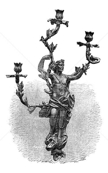 Branched Candelabra, vintage engraving Stock photo © Morphart
