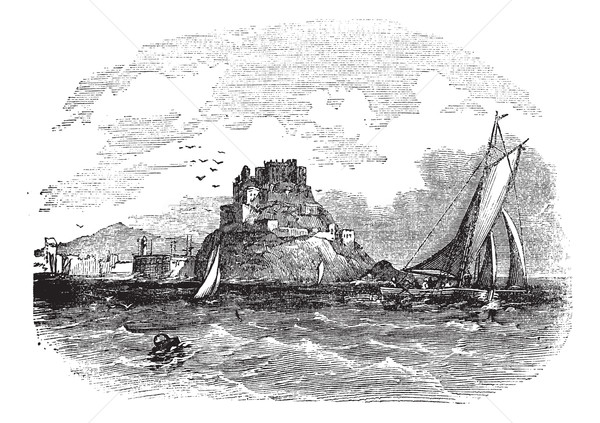 Stock photo: Mont Orgueil Castle in Jersey vintage engraving