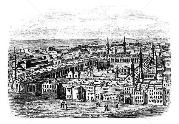 Mecset Mecca klasszikus vésés gravírozott illusztráció Stock fotó © Morphart