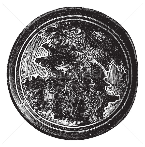 Persian pottery or Iranian pottery, vintage engraving. Stock photo © Morphart