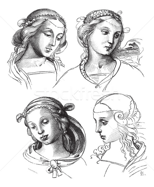 Pen drawings by Raphael, at the Academy of Fine Arts of Venice.  Stock photo © Morphart