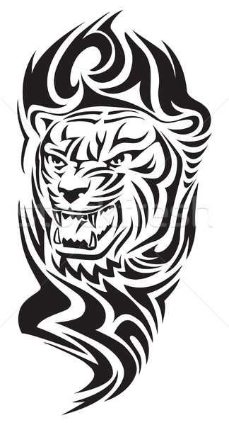 Stock photo: Tiger head tattoo, vintage engraving