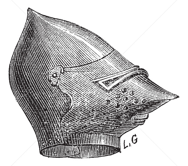 Maska kask vintage starych wyryty Zdjęcia stock © Morphart