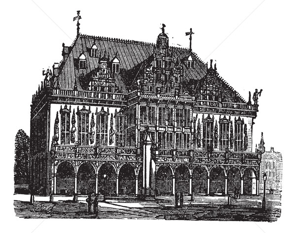 Council house or council estate, Bremen, Germany, vintage engrav Stock photo © Morphart