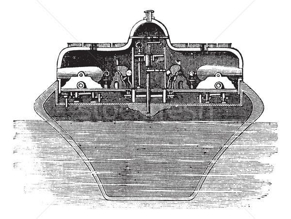 Vintage gegraveerd illustratie monitor encyclopedie zee Stockfoto © Morphart