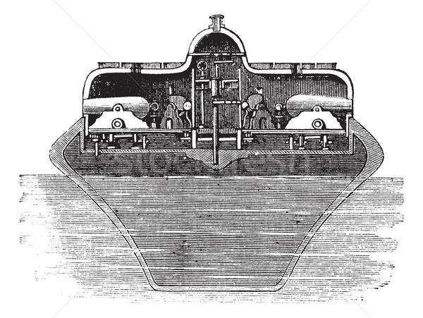 Vintage wyryty ilustracja monitor encyklopedia morza Zdjęcia stock © Morphart