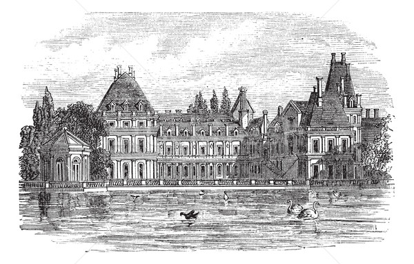 Fontainebleau Palace in Paris, France, vintage engraving Stock photo © Morphart