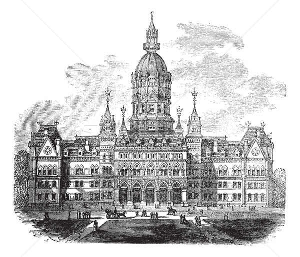 Hartford, Connecticut, New State House vintage engraving Stock photo © Morphart