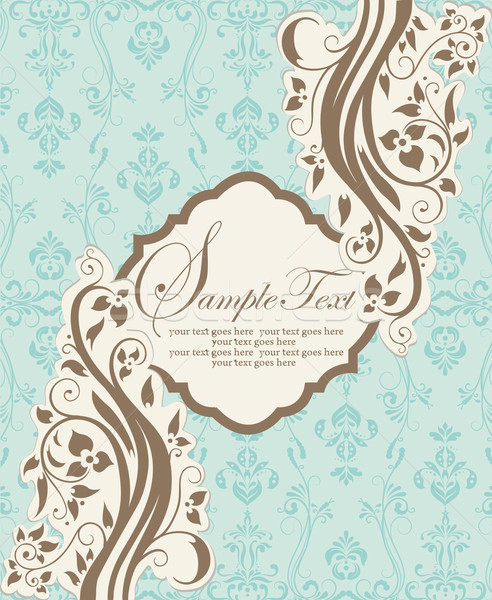 Vintage blue damask invitation with floral elements  Stock photo © Morphart