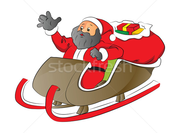 Vector of a santa with shocked expression in sledge. Stock photo © Morphart