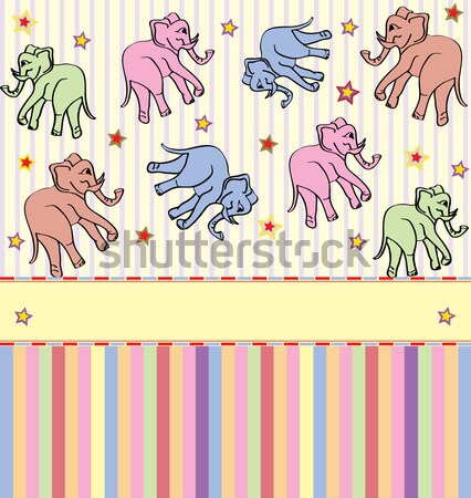 Vintage invitation card with cute abstract elephants and stars d Stock photo © Morphart
