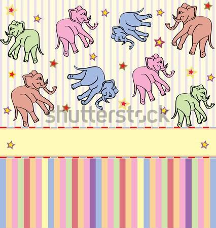Vintage cute streszczenie słonie gwiazdki Zdjęcia stock © Morphart