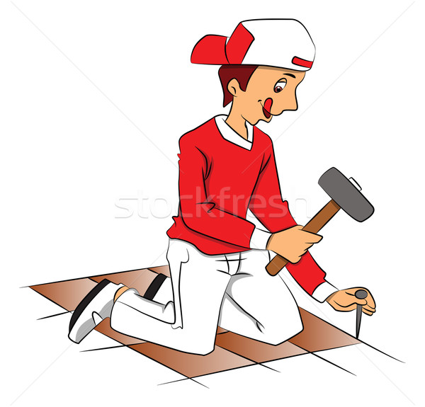 Vector of repairman hammering nail to remove tiled floor. Stock photo © Morphart