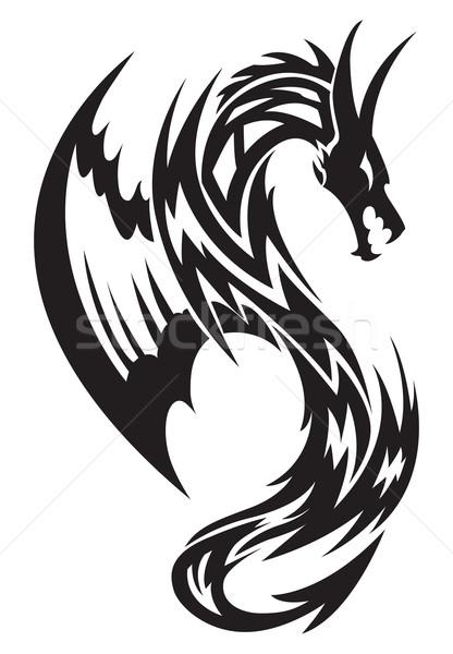Battant dragon tatouage vintage gravure design Photo stock © Morphart