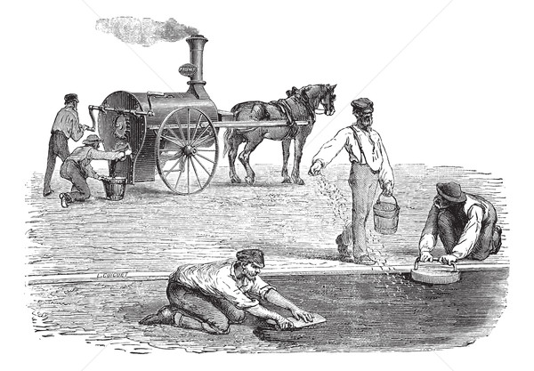 Road workers making pavement with the help of steam engine vinta Stock photo © Morphart
