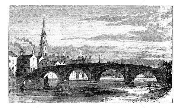 River Ayr Bridges. Old Bridge or Auld Brig over Ayr River, in Sc Stock photo © Morphart
