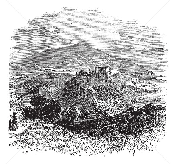 Countryside view of Castellammare di Stabia vintage engraving Stock photo © Morphart