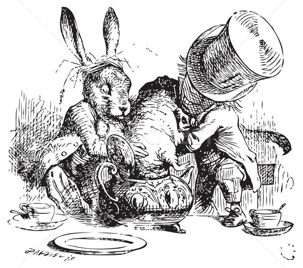 Mad Hatter and March Hare dunking the Dormouse - Alice in Wonder Stock photo © Morphart