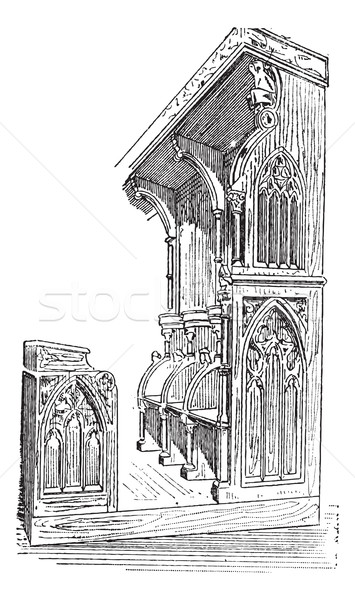 Stock photo: Church stall at Anellau, France, vintage engraving.
