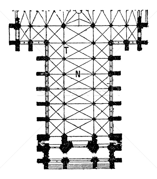 Floor Plan of the Nave of the Amiens Cathedral in Amiens, France Stock photo © Morphart