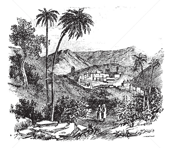 Bethany or Biblical village, Jerusalem, vintage engraving. Stock photo © Morphart