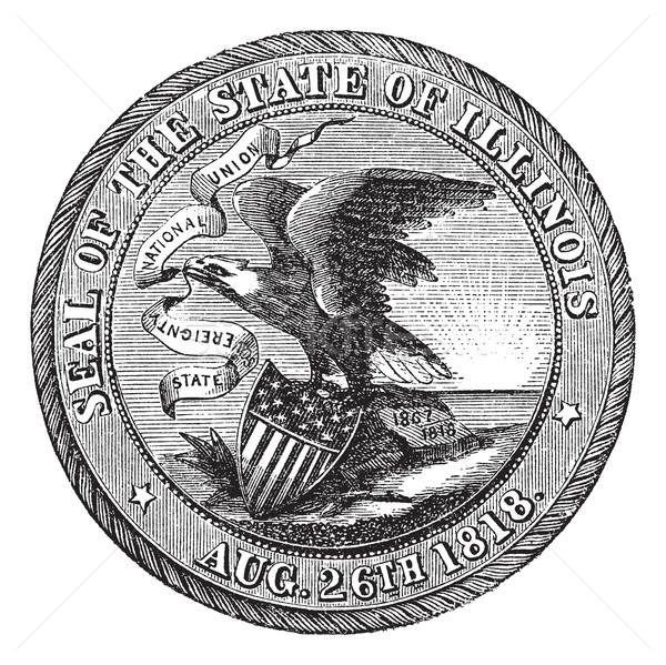 Great Seal of the State of Illinois  USA vintage engraving Stock photo © Morphart
