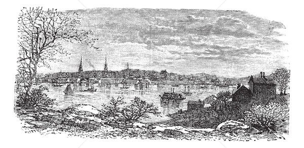New London in Connecticut, USA, vintage engraved illustration Stock photo © Morphart