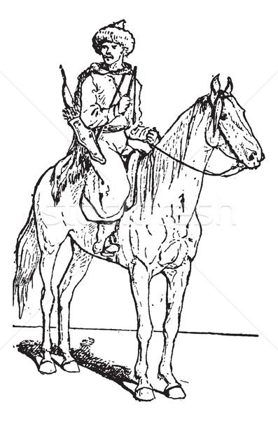 лучник лошади Vintage иллюстрация Сток-фото © Morphart