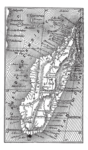 Map of Madagascar vintage engraving Stock photo © Morphart