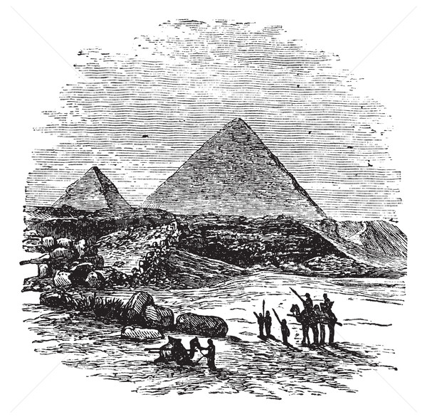 The Pyramids of Giza, vintage engraving. Stock photo © Morphart