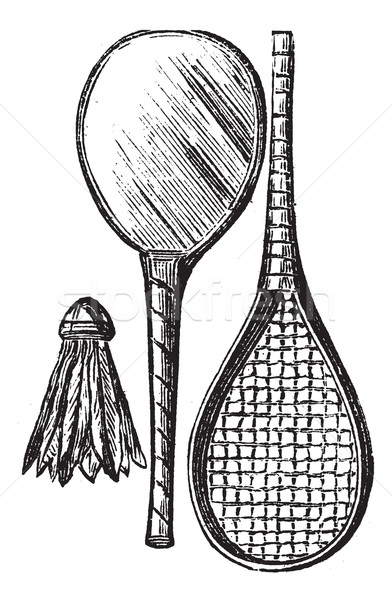 Two Rackets and shuttlecock vintage engraving Stock photo © Morphart