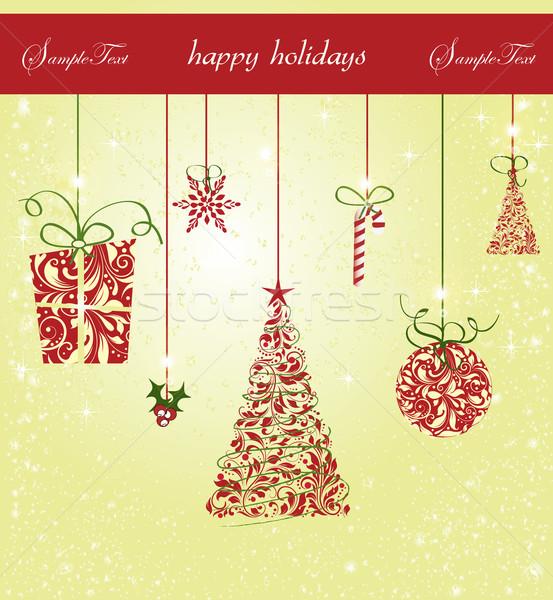 Stock fotó: Klasszikus · karácsonyi · üdvözlet · díszes · elegáns · retro · absztrakt
