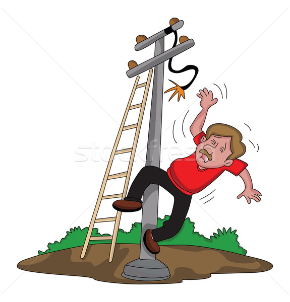 Vector of man falling from ladder after an electric shock. Stock photo © Morphart