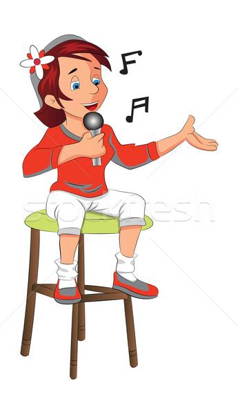 девушки сидящий пения иллюстрация микрофона женщины Сток-фото © Morphart